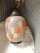 GENUINE VINTAGE GLASS LARGE LAMPSHADE MULTI COLOUR HONEYCOMB EFFECT BRASS FITTIN